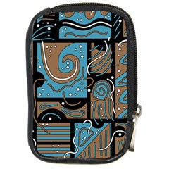 Blue and brown abstraction Compact Camera Cases