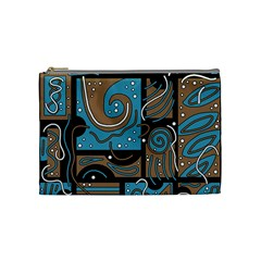 Blue and brown abstraction Cosmetic Bag (Medium)