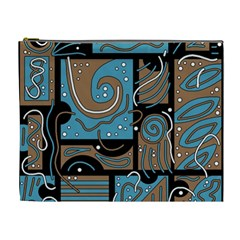 Blue and brown abstraction Cosmetic Bag (XL)