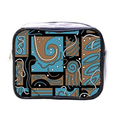 Blue and brown abstraction Mini Toiletries Bags