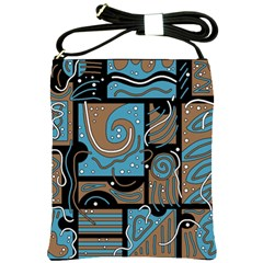 Blue and brown abstraction Shoulder Sling Bags