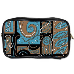 Blue and brown abstraction Toiletries Bags 2-Side
