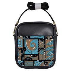 Blue and brown abstraction Girls Sling Bags
