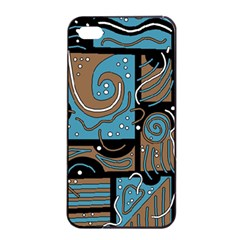 Blue and brown abstraction Apple iPhone 4/4s Seamless Case (Black)