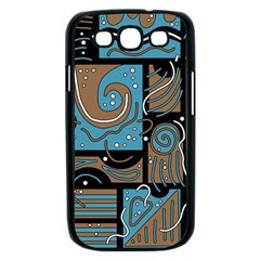 Blue and brown abstraction Samsung Galaxy S III Case (Black)