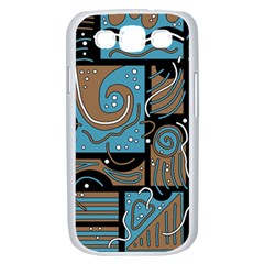 Blue and brown abstraction Samsung Galaxy S III Case (White)
