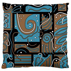 Blue and brown abstraction Large Cushion Case (One Side)