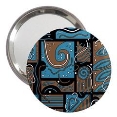 Blue and brown abstraction 3  Handbag Mirrors