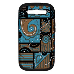 Blue and brown abstraction Samsung Galaxy S III Hardshell Case (PC+Silicone)