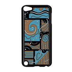 Blue and brown abstraction Apple iPod Touch 5 Case (Black)