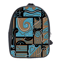 Blue and brown abstraction School Bags (XL)
