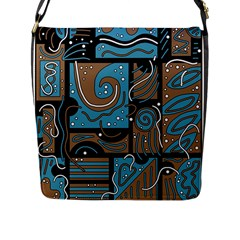 Blue and brown abstraction Flap Messenger Bag (L)