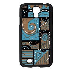 Blue and brown abstraction Samsung Galaxy S4 I9500/ I9505 Case (Black)