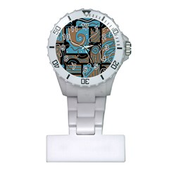 Blue and brown abstraction Plastic Nurses Watch