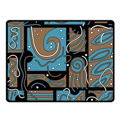 Blue and brown abstraction Double Sided Fleece Blanket (Small)