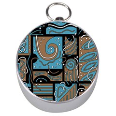 Blue and brown abstraction Silver Compasses