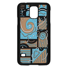 Blue and brown abstraction Samsung Galaxy S5 Case (Black)