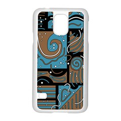 Blue and brown abstraction Samsung Galaxy S5 Case (White)