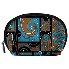 Blue and brown abstraction Accessory Pouches (Large)