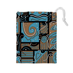 Blue and brown abstraction Drawstring Pouches (Large)