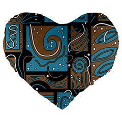 Blue and brown abstraction Large 19  Premium Flano Heart Shape Cushions
