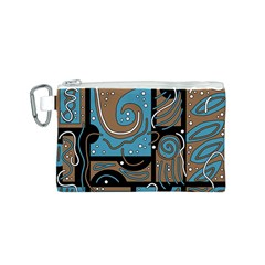 Blue and brown abstraction Canvas Cosmetic Bag (S)