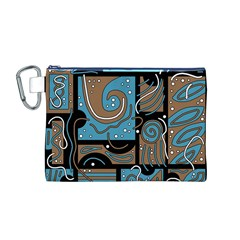 Blue and brown abstraction Canvas Cosmetic Bag (M)