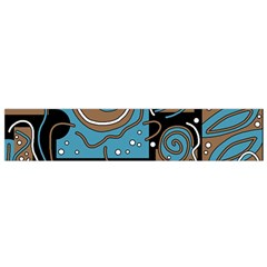 Blue and brown abstraction Flano Scarf (Small)