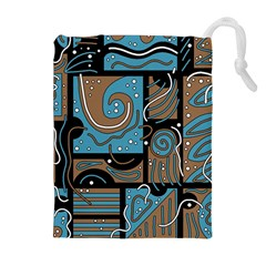 Blue and brown abstraction Drawstring Pouches (Extra Large)