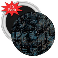Blue town 3  Magnets (10 pack)