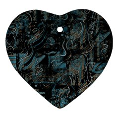 Blue town Heart Ornament (2 Sides)