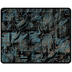 Blue town Double Sided Fleece Blanket (Medium)