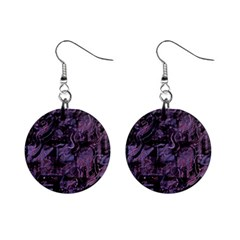 Purple town Mini Button Earrings