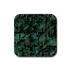 Green town Rubber Square Coaster (4 pack)