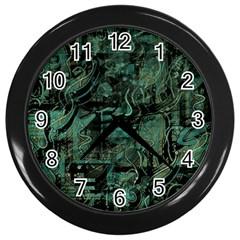 Green town Wall Clocks (Black)