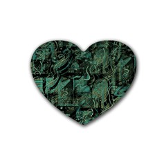 Green town Rubber Coaster (Heart)