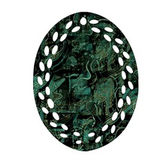 Green town Oval Filigree Ornament (2-Side)