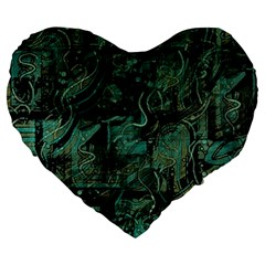 Green town Large 19  Premium Heart Shape Cushions