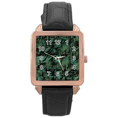 Green town Rose Gold Leather Watch