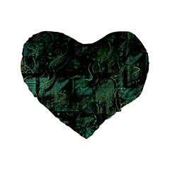 Green town Standard 16  Premium Flano Heart Shape Cushions