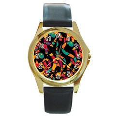 Colorful snakes Round Gold Metal Watch