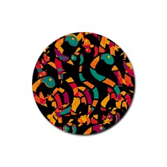 Colorful snakes Rubber Coaster (Round)