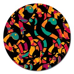 Colorful snakes Magnet 5  (Round)