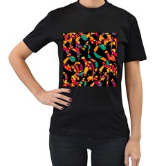 Colorful snakes Women s T-Shirt (Black) (Two Sided)