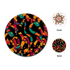 Colorful snakes Playing Cards (Round)