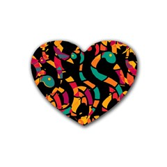 Colorful snakes Rubber Coaster (Heart)