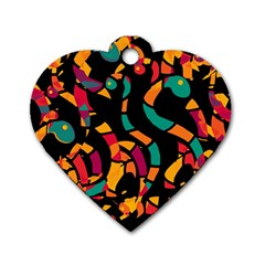 Colorful snakes Dog Tag Heart (One Side)