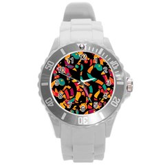 Colorful snakes Round Plastic Sport Watch (L)