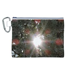 Sun rays through white cherry blossoms Canvas Cosmetic Bag (L)