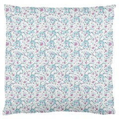 Intricate Floral Collage  Large Flano Cushion Case (One Side)
